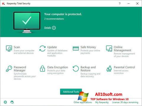 Petikan skrin Kaspersky Total Security untuk Windows 10