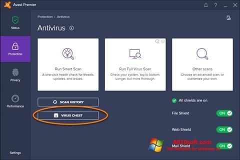 Petikan skrin Avast untuk Windows 10
