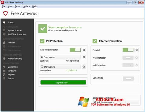 Petikan skrin Avira Free Antivirus untuk Windows 10