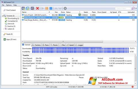 Petikan skrin BitTorrent untuk Windows 10