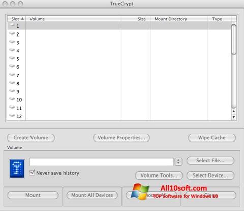 Petikan skrin TrueCrypt untuk Windows 10