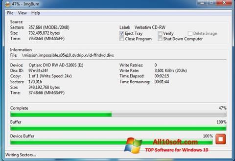 Petikan skrin ImgBurn untuk Windows 10