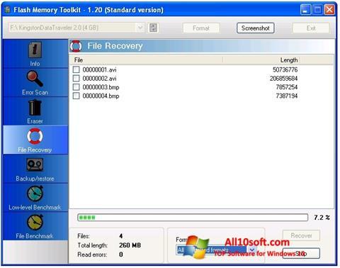 Petikan skrin Flash Memory Toolkit untuk Windows 10
