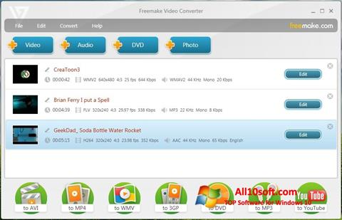 Petikan skrin Freemake Video Converter untuk Windows 10